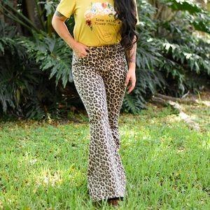 Leopard Bell Bottom Jeans